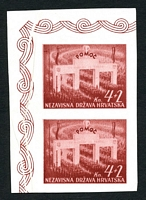 Lot 20378:1942 National Welfare Mi #84U 4K+2 carmine-brown imperf vertical pair, Cat €50, ungummed, marginal creasing, not listed in this colour.