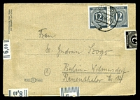 Lot 3988:1946 use of 12p grey pair cancelled with 'LÜCHOW/27.7.46.17/?' on wrapper to Berlin sealed using value tabs (sheet selvedge) & a 2p black, letter inside.