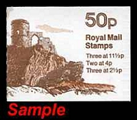 Lot 22628:50p Follies SG #FB18A,B 1981-82, Mow Cop Castle Type A x12, Type B x4, Cat £70, minor staining to booklet covers not effecting panes.
