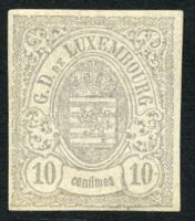 Lot 3811:1865-75 Arms SG #47a 10c grey-lilac imperf as pair, 4 margins.