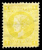 Lot 4143:1869-80 Milan - 1st Printing Mi #11IA 1p yellow, P12, Cat €36, small closed tear at top.