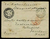 Lot 4584 [1 of 2]:1901: use of stampless OAS cover cancelled with 'ARMY.P.O.52/JA20/01/·S.AFRICA·' (Springfontein), 'LC[??]/PAID/P/10 ??' cds in red with arrival double circle 'ALDERSHOT/8AM/FE11/01/-+-' & 'FAREHAM/5.15PM/FE11