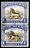 Lot 4171:1947-54 Pictorials SG #120 1/- blackish brown & ultramarine vertical pair.