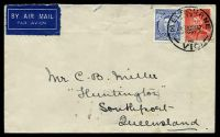 Lot 5294 [1 of 2]:1937 use of 3d KGVI Die I & 2d scarlet KGVI Die I, cancelled by 'MELBOURNE/17/???10SE37/VIC' cds, airmail to Queensland, two closed tears at top.