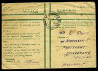 Lot 4392:1918 use of Honour envelope in green cancelled by 'FIELD POST OFFICE/B/JY6/18/S.A.1' (A1 - Heilly, Somme) to Australia, part of flap missing & some staining on the front.