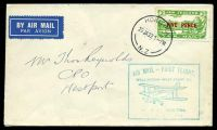 Lot 23876:1932 Kohita - Wellington 5d on 3d green tied by 'HOKITIKA/20JA32.1PM/N.Z' to air cover bearing boxed 'AIR MAIL - FIRST FLIGHT/WELLINGTON - WEST COAST, S.I./[biplane]/BY AIR FROM HOKITIKA./20th JANUARY. 1932.