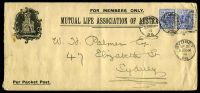 Lot 919:1899 use of 2d cobalt-blue P12 (SG #293b) x2 with Wmk inverted cancelled with 'SYDNEY/AP21/5.30.P.M/99/26' on long Mutual Life Association of Australia cover.