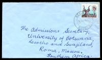 Lot 24722:1966 use of 3d Kudu cancelled by double-circle 'BELINGWE/16NOV1966/RHODESIA' on cover to South Africa.