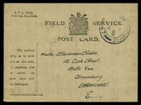Lot 23393:1918 use of Field Service Postcard (115mm x 85mm) cancelled by double-circle 'ARMY POST OFFICE/?/16MY/18/S
