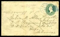 Lot 4513:Washington, Arkansas: blue 'WASHINGTON/NOV/23/ARK' on 1880s 3c green on buff Envelope, small closed tear at right
