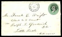 Lot 29365:Arkadelphia, Arkansas: 'ARKADELPHIA/JUN/10/ARK.' on 1880s 3c green on white Envelope addressed to Little Rock