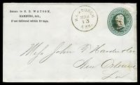 Lot 29366:Hamburgh, Arkansas: 'HAMBURGH/MAR/13/ARK.' on 1880s 3c green on white Envelope addressed to New Orleans
