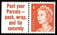 Lot 3359:1966-73 4c QEII Helecon Paper BW #442ca,booklet stamp in pair with slogan tab 'Post your/Parcels -/pack, wrap,/and tie/securely', Cat $12, small pencil mark at top of tab.