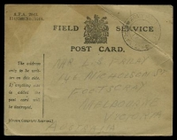 Lot 1152:1917 use of Field Service Postcard cancelled with light double-circle 'ARMY POST OFFICE/29SP/17/R.A.2' (2nd Ammunition Railhead) addressed to Melbourne, strong diagonal crease across postmark.