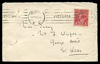 Lot 987:1917 use of 1d red KGV, cancelled by Melbourne machine of 9AP17, closed tear at left & a couple of tone spots.