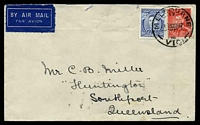 Lot 997 [1 of 2]:1937 use of 3d KGVI Die I & 2d scarlet KGVI Die I, cancelled by 'MELBOURNE/17/???10SE37/VIC' cds, airmail to Queensland, two closed tears at top.