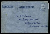 Lot 1020:1952-53 10d Constellation BW #A6 cancelled by Brisbane slogan of 9JUL1953, to North Ireland, creased.