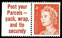 Lot 3159:1966-73 4c QEII Helecon Paper BW #442ca,booklet stamp in pair with slogan tab 'Post your/Parcels -/pack, wrap,/and tie/securely', Cat $12, small pencil mark at top of tab.
