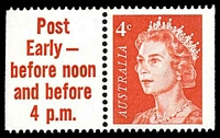 Lot 3160:1966-73 QEII Definitives BW #442cc 4c red helecon paper in pair with slogan tab 'Post/Early -/before noon/and before/4 p.m.', Cat $12.