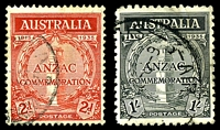 Lot 2944:1935 Anzac BW #164-5 set of 2, Cat $40.