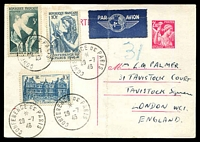Lot 21285:1946 Paris Conference set of 2, Cat #983-4 accompanied by 10f blue landmarks (SG #978) on 2.40f pink postcard cancelled with 4 strikes of 'CONFERENCE DE PARIS/*/29-7/46', addressed to England, strong vertical fold.
