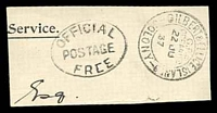 Lot 22919:Ocean Island: double-circle 'GILBERT & ELLICE ISLANDS/G.P.O/OCEAN ISD/22JU/37/COLONY' on piece with oval 'OFFICIAL/POSTAGE/FREE' (A-1) with central bar in first E of free missing.  PO 1/1/1911; renamed Banaba PO c.1979.