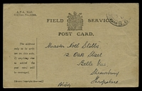 Lot 3599:1917 use of Field Service Card cancelled by partial Army Post Office S.6? addressed to Shropshire.