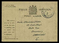 Lot 22505:1918 use of Field Service Postcard (115mm x 85mm) cancelled by double-circle 'ARMY POST OFFICE/?/16MY/18/S