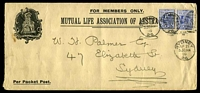 Lot 5753:1899 use of 2d cobalt-blue P12 (SG #293b) x2 with Wmk inverted cancelled with 'SYDNEY/AP21/5.30.P.M/99/26' on long Mutual Life Association of Australia cover.