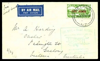 Lot 4473 [1 of 2]:1932 boxed 'AIR MAIL - FIRST FLIGHT./WELLINGTON-WEST COAST, S.I./[biplane]/BY AIR FROM NELSON./20th. JANUARY, 1932.' in cyan on air cover franked by FIVE PENCE on 3d green air (SG#551) cancelled by 'NELSON/20JA32.830AM/N.Z' cds & backstamped with 'HOKITIKA/20JA32.1PM/N.Z' cds, small stain spot on rear.