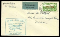 Lot 4442 [1 of 2]:1932 Hokitika - Nelson 5d on 3d green cancelled by 'HOKITIKA