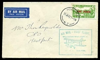 Lot 25912:1932 Kohita - Wellington 5d on 3d green tied by 'HOKITIKA/20JA32.1PM/N.Z' to air cover bearing boxed 'AIR MAIL - FIRST FLIGHT/WELLINGTON - WEST COAST, S.I./[biplane]/BY AIR FROM HOKITIKA./20th JANUARY. 1932.