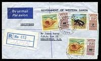 Lot 4598:1974 use of 2s & 10s shells x2 cancelled with 'APIA/11DE742/WESTERN SAMOA' on registered air cover to Wellington, NZ.
