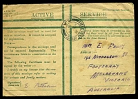 Lot 27750:1918 use of Honour envelope in green cancelled by 'FIELD POST OFFICE/B/JY6/18/S.A.1' (A1 - Heilly, Somme) to Australia, part of flap missing & some staining on the front.