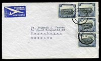 Lot 4182:1950 use of 3d grey-blue & blue Windhoek x4 (SG#77), cancelled with double-circle 'WINDHOEK/13IVH50/5' on consular air cover with back flap inscribed 'Kongelig Dansk Vicekonsulat/Royal Danish Vice Consulate/P.O. Box 222 : : Windhoek/Syd Vest Afrika'.