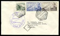 Lot 27740:1950 Barcelona - London 15c green rider, 50c & 1p J. de la Cierva (Mi #769,824-5) cancelled by hexagonal 'CORREO AEREO/22OCT50 12M/BARCELONA' with circular 'B.E.A/LONDON/BARCELONA/FIRST FLIGHT 23 OCT 1950' handstamp in purple.