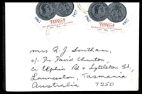 Lot 4231:1978 use of 11s coronation x2 (SG#613) very lightly cancelled on cover to Australia.