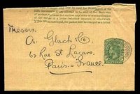 Lot 28301:1915 KGV HG #1 ½d green on buff, with poor Port of Spain cds addressed to Paris