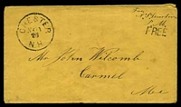 "Lot 29268:1850s use of plain envelope endorsed ""Free/A. S. Dearborn/P.M."" with straight-line 'FREE' (A-1) and bearing 'CHESTER/NOV26/N.H.' (A1-)."
