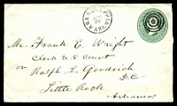 Lot 28746:Arkadelphia, Arkansas: 'ARKADELPHIA/JUN/10/ARK.' on 1880s 3c green on white Envelope addressed to Little Rock