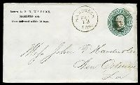 Lot 28747:Hamburgh, Arkansas: 'HAMBURGH/MAR/13/ARK.' on 1880s 3c green on white Envelope addressed to New Orleans