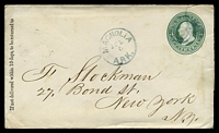 Lot 28749 [1 of 2]:Magnolia, Arkansas: 'MAGNOLIA/JUL/5/ARK.' on 1880s 3c green on buff Envelope
