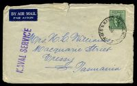 Lot 5340:1959 use of 4d green Koala cancelled by 'NAVAL P.O. BALMORAL/3MR59