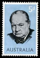 Lot 2921:1965 Churchill BW #430f 5d with, Retouch below STR of AUSTRALIA, Cat $20.