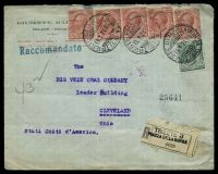 Lot 4054:1921 use of 10c red x5 & 5c green, cancelled with double-circle 'TRIESTE PZZADELLA BORSA/11.1.21.13/(4A)' (A1-) on registered Giuseppe Maestro cover to Cleveland, Ohio bearing straight-line 'Raccomandato' (A1) in blue & reg label in grey with straight-line 'TRIESTE 3/PIAZZA DELLA BORSA' handstamp in black.