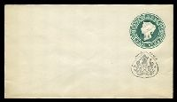 Lot 24400:1888 'JHIND STATE' on Stamp & Black Arms HG #B7 ½a green on white laid paper, size b.