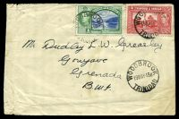 Lot 28944 [1 of 2]:Woodbrook: 'WOODBROOK/19MAY48B/TRINIDAD', Proud #D4, cancelling 1c green & 5c red KGVI on cover to Grenada, extensive creasing at left edge.