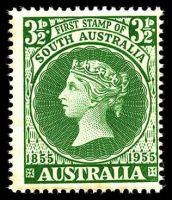 Lot 597:1955 SA Stamp Centenary BW #330d 3½d green with Weak star in right corner, Cat $40, couple of mild tone spots, mostly along bottom edge.
