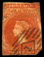 Lot 9115:1856-58 Imperf Adelaide Printing SG #9 2d red 1-margin, Cat £40, trimmed BRC, small closed tear at base.
