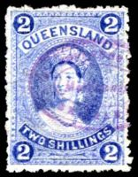 Lot 6734:1882-95 Large Chalons Wmk 1st Crown/Q Sideways SG #152 2/- bright blue, Cat £32, fiscal cancel.
